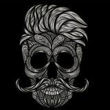 Διάνυσμα του ανθρώπινου κρανίου με την τρίχα και mustache Στοκ Εικόνες