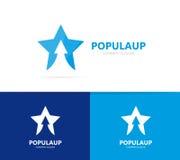 Διάνυσμα του αστεριού και του βέλους επάνω στο συνδυασμό λογότυπων Ηγέτης και σύμβολο ή εικονίδιο αύξησης Στοκ Φωτογραφίες