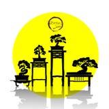 Διάνυσμα του δέντρου μπονσάι στο υπόβαθρο Διανυσματική απεικόνιση