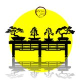 Διάνυσμα του δέντρου μπονσάι στο υπόβαθρο Στοκ εικόνα με δικαίωμα ελεύθερης χρήσης