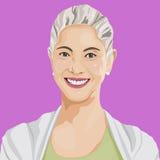 Διάνυσμα του ευτυχούς χαμόγελου κυρία Portrait Art Concept διανυσματική απεικόνιση