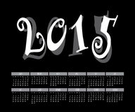 Διάνυσμα του ζωηρόχρωμου μηνιαίου ημερολογιακού προτύπου έτους 2015 Στοκ εικόνες με δικαίωμα ελεύθερης χρήσης