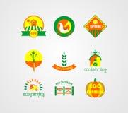 Διάνυσμα του λογότυπου καλλιέργειας Eco, συλλογή αγροτικών λογότυπων Ελεύθερη απεικόνιση δικαιώματος
