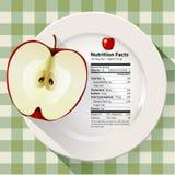Διάνυσμα του μήλου γεγονότων διατροφής Στοκ Εικόνες