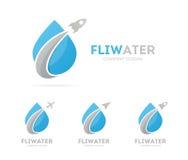 Διάνυσμα του πυραύλου και του συνδυασμού λογότυπων πτώσης Αεροπλάνο και σύμβολο ή εικονίδιο aqua Μοναδικό σχέδιο νερού και ελαίου Στοκ Εικόνα