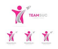 Διάνυσμα του συνδυασμού λογότυπων πυραύλων και ατόμων Αεροπλάνο και ανθρώπινο σύμβολο ή εικονίδιο Μοναδικό σχέδιο ομάδων και φιλί Στοκ φωτογραφία με δικαίωμα ελεύθερης χρήσης