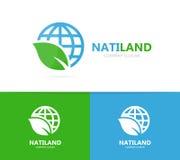Διάνυσμα του συνδυασμού λογότυπων πλανητών και φύλλων Κόσμος και σύμβολο ή εικονίδιο eco Μοναδική σφαίρα και οργανικό σχέδιο logo Στοκ εικόνες με δικαίωμα ελεύθερης χρήσης