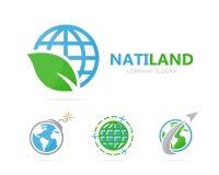 Διάνυσμα του συνδυασμού λογότυπων πλανητών και φύλλων Κόσμος και σύμβολο ή εικονίδιο eco Μοναδική σφαίρα και οργανικό σχέδιο logo Στοκ Εικόνα