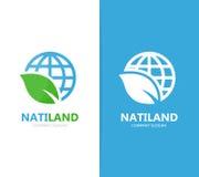Διάνυσμα του συνδυασμού λογότυπων πλανητών και φύλλων Κόσμος και σύμβολο ή εικονίδιο eco Μοναδική σφαίρα και οργανικό σχέδιο logo Στοκ Φωτογραφία