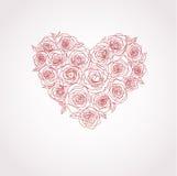 διάνυσμα τριαντάφυλλων καρδιών Στοκ Εικόνες