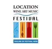 Διάνυσμα - τρόφιμα, κρασί, μουσική, λογότυπο φεστιβάλ τεχνών, που απομονώνεται στο άσπρο υπόβαθρο επίσης corel σύρετε το διάνυσμα Στοκ Φωτογραφίες