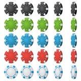 Διάνυσμα τσιπ πόκερ Διαφορετικές γωνίες κτυπήματος Το καθορισμένο κλασικό χρωματισμένο πόκερ πελεκά το εικονίδιο στο λευκό μαύρο  διανυσματική απεικόνιση