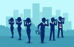 Διάνυσμα των ανδρών και των γυναικών επιχειρήσεων που ψάχνουν για την επιτυχία που κοιτάζει στις αντίθετες κατευθύνσεις ελεύθερη απεικόνιση δικαιώματος