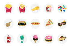 Διάνυσμα των εικονιδίων απεικόνισης άχρηστου φαγητού καθορισμένων διανυσματική απεικόνιση