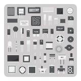 Διάνυσμα των επίπεδων εικονιδίων, βασικό ηλεκτρονικό σύνολο πινάκων κυκλωμάτων διανυσματική απεικόνιση