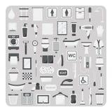 Διάνυσμα των επίπεδων εικονιδίων, του συνόλου λουτρών και τουαλετών απεικόνιση αποθεμάτων