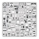 Διάνυσμα των επίπεδων εικονιδίων, του σύγχρονου δωματίου κουζινών, των επίπλων και του συνόλου σκευών για την κουζίνα ελεύθερη απεικόνιση δικαιώματος