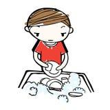 Διάνυσμα των πιάτων πλυσίματος αγοριών κινούμενων σχεδίων στο νεροχύτη Στοκ Εικόνες