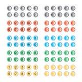 Διάνυσμα των πολυ χρωματισμένων κουμπιών με και χωρίς αριθμούς Στοκ εικόνες με δικαίωμα ελεύθερης χρήσης