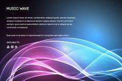 Διάνυσμα υγιών κυμάτων Διανυσματική δόνηση φωνής μουσικής, ψηφιακό φάσμα κυματοειδούς τραγουδιού, ακουστικοί σφυγμός και συχνότητ διανυσματική απεικόνιση