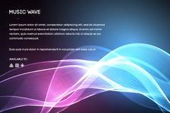 Διάνυσμα υγιών κυμάτων Διανυσματική δόνηση φωνής μουσικής, ψηφιακό φάσμα κυματοειδούς τραγουδιού, ακουστικοί σφυγμός και συχνότητ ελεύθερη απεικόνιση δικαιώματος