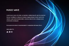 Διάνυσμα υγιών κυμάτων Διανυσματική δόνηση φωνής μουσικής, ψηφιακό φάσμα κυματοειδούς τραγουδιού, ακουστικοί σφυγμός και συχνότητ απεικόνιση αποθεμάτων