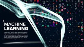 Διάνυσμα υποβάθρου εκμάθησης μηχανών Απεικόνιση αλγορίθμου Φουτουριστικός κώδικας Δυαδικές τεχνολογίες συστήματος κρυπτογραφίας t απεικόνιση αποθεμάτων