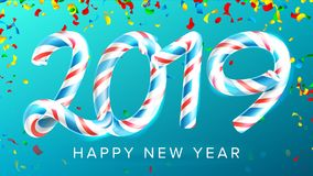 2019 διάνυσμα υποβάθρου καλής χρονιάς Αριθμοί 2019 Χρώματα Χριστουγέννων βακκινίων Κλασικός κάλαμος καραμελών Χριστουγέννων τρισδ Στοκ εικόνες με δικαίωμα ελεύθερης χρήσης