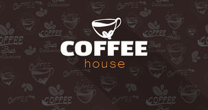 Διάνυσμα υποβάθρου κειμένων λογότυπων καφέ Τέλειο σχέδιο για τον τίτλο, και έμβλημα Στοκ φωτογραφία με δικαίωμα ελεύθερης χρήσης