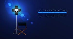 Διάνυσμα υποβάθρου προτύπων κινηματογράφων στο μπλε απεικόνιση αποθεμάτων