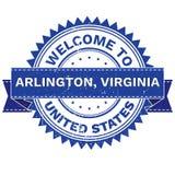 Διάνυσμα ΥΠΟΔΟΧΗ στην πόλη ΆΡΛΙΝΓΚΤΟΝ, χώρα ΗΝΩΜΕΝΕΣ ΠΟΛΙΤΕΊΕΣ της ΒΙΡΤΖΙΝΙΑ γραμματόσημο sticker Ύφος Grunge EPS8 Στοκ Εικόνα