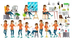Διάνυσμα χαρακτήρα επιχειρησιακών γυναικών Στη δράση ΤΠ Startup Business Company Διαδικασία περιβάλλοντος Προγραμματισμός cartoon διανυσματική απεικόνιση