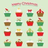 Διάνυσμα Χαρούμενα Χριστούγεννας κινούμενων σχεδίων Cupcake ελεύθερη απεικόνιση δικαιώματος