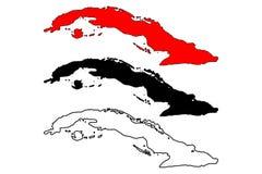 Διάνυσμα χαρτών της Κούβας απεικόνιση αποθεμάτων