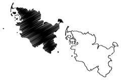 Διάνυσμα χαρτών του Σλέσβιχ-Χολστάιν Στοκ Φωτογραφία