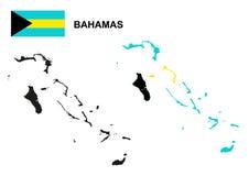 Διάνυσμα χαρτών των Μπαχαμών, σημαία των Μπαχαμών διανυσματικές, απομονωμένες Μπαχάμες Στοκ Εικόνες
