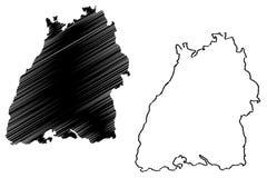 Διάνυσμα χαρτών baden-Wurttemberg Στοκ φωτογραφίες με δικαίωμα ελεύθερης χρήσης