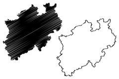 Διάνυσμα χαρτών North Rhine-Westphalia Στοκ Εικόνες