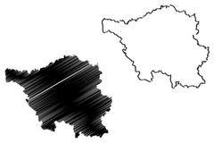 Διάνυσμα χαρτών Saarland Στοκ Εικόνες