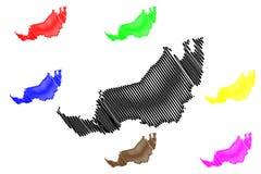 Διάνυσμα χαρτών Sarawak ελεύθερη απεικόνιση δικαιώματος