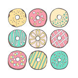 Διάνυσμα donuts χαριτωμένο Στοκ εικόνες με δικαίωμα ελεύθερης χρήσης