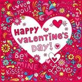 Διάνυσμα Doodle σημειωματάριων αγάπης καρδιών ημέρας βαλεντίνων Στοκ φωτογραφία με δικαίωμα ελεύθερης χρήσης