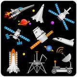 διάνυσμα spaceships δορυφόρων Στοκ Εικόνα