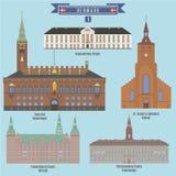 Διάσημα μέρη στη Δανία διανυσματική απεικόνιση