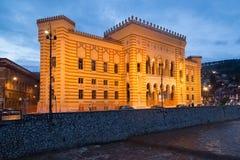 Διάσημες αίθουσα και βιβλιοθήκη πόλεων που χτίζουν τη νύχτα Στοκ Εικόνες