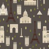 Διάσημες θέες του Παρισιού άνευ ραφής διάνυσμα προτύπων Στοκ Εικόνα