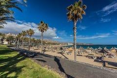Διάσημες παραλίες Tenerife, Playa las Αμερική και Playas Del Camison την ηλιόλουστη ημέρα Στοκ φωτογραφίες με δικαίωμα ελεύθερης χρήσης