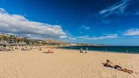 Διάσημες παραλίες Tenerife, Playa las Αμερική και Playas Del Camison την ηλιόλουστη ημέρα Στοκ Εικόνα