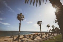 Διάσημες παραλίες Tenerife, Playa las Αμερική και Playas Del Camison την ηλιόλουστη ημέρα Στοκ φωτογραφία με δικαίωμα ελεύθερης χρήσης