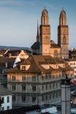 Διάσημη άποψη καρτών των διάφορων σπιτιών και των εκκλησιών στο παλαιό τ Στοκ Εικόνα